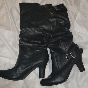 Black Sexy Knee High Boots With Buckle Size 11